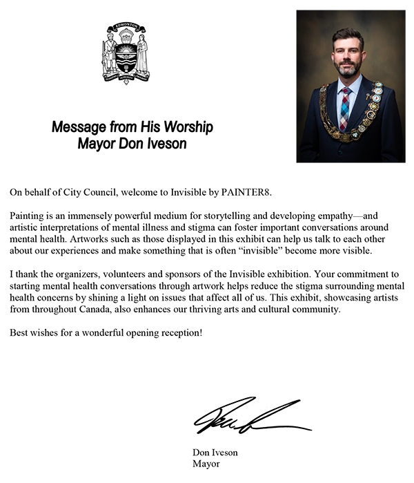 Don Iveson's message for the exhibition, Invisiblee